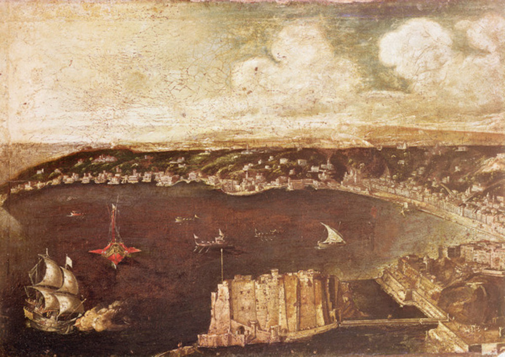 Detail of The Port of Naples by Italian School