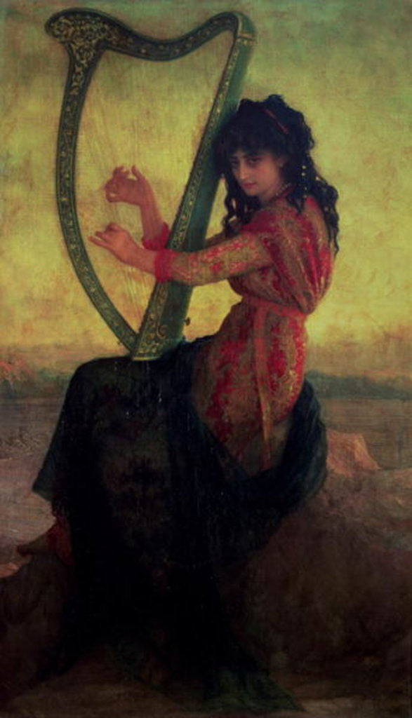 Detail of Muse Playing the Harp by Antoine Auguste Ernest Herbert or Hebert