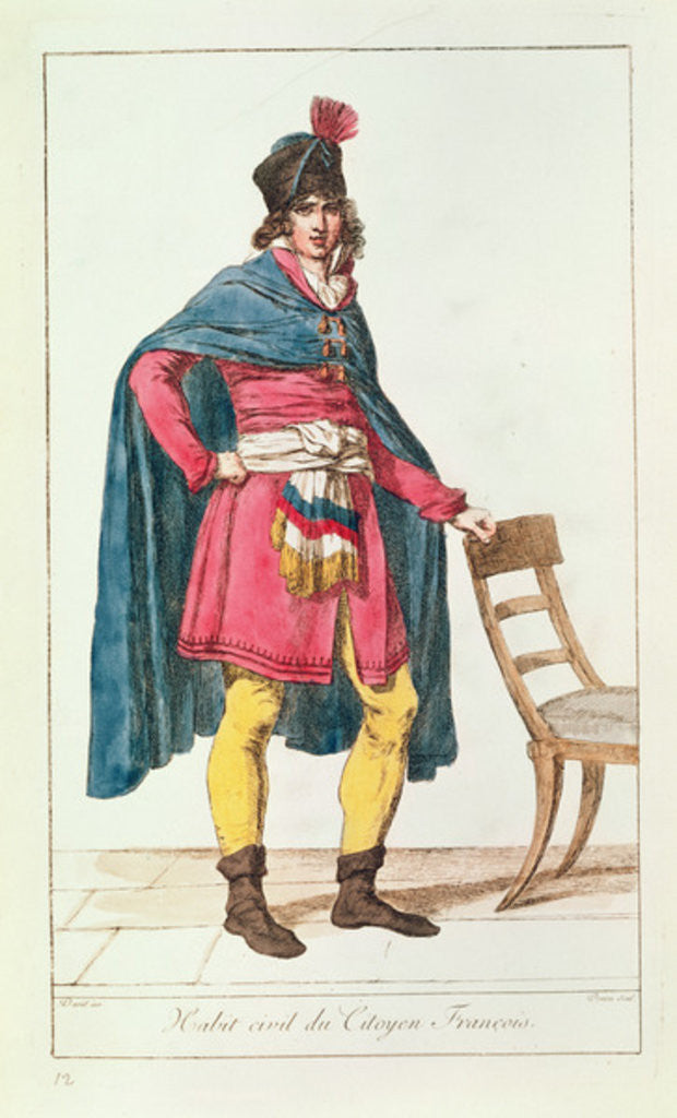 Detail of Civilian costume for a French citizen, engraved by Vivant Dominique Denon by Jacques Louis David