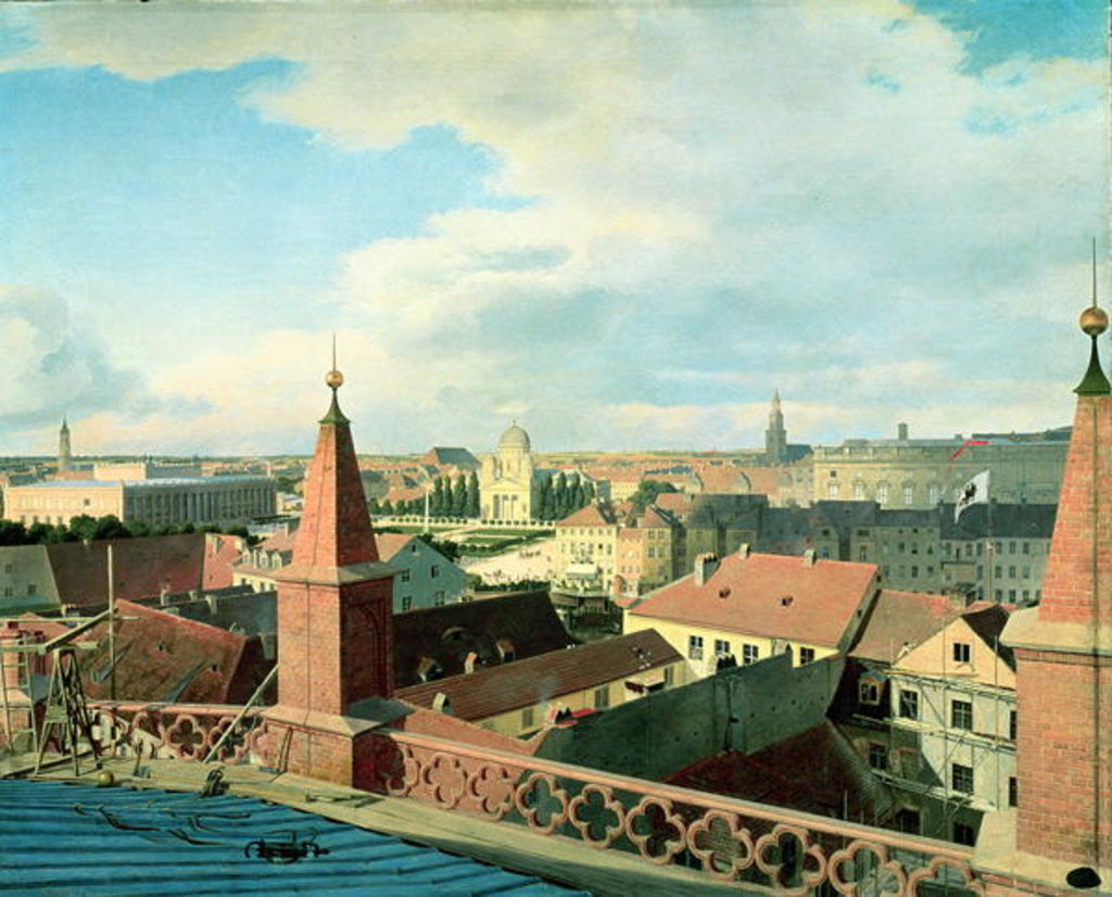Detail of View of the city of Berlin with Altes Museum and Cathedrale from the roof of the Church of Friedrichswerder by Johann Philipp Eduard Gartner