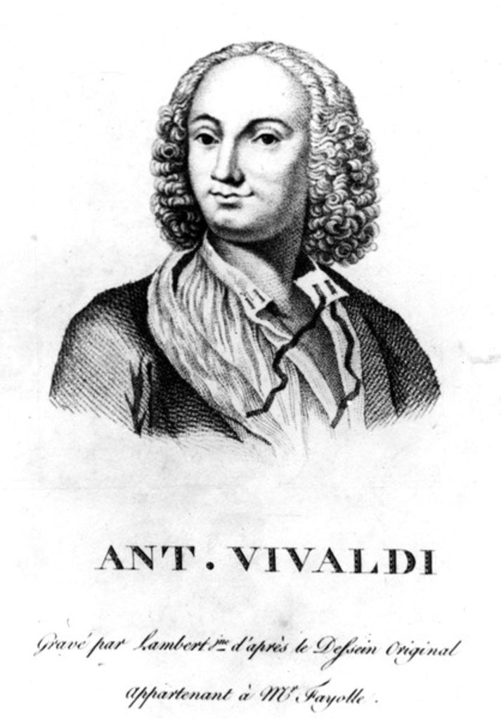 Detail of Antonio Vivaldi by Francois Morellon la Cave