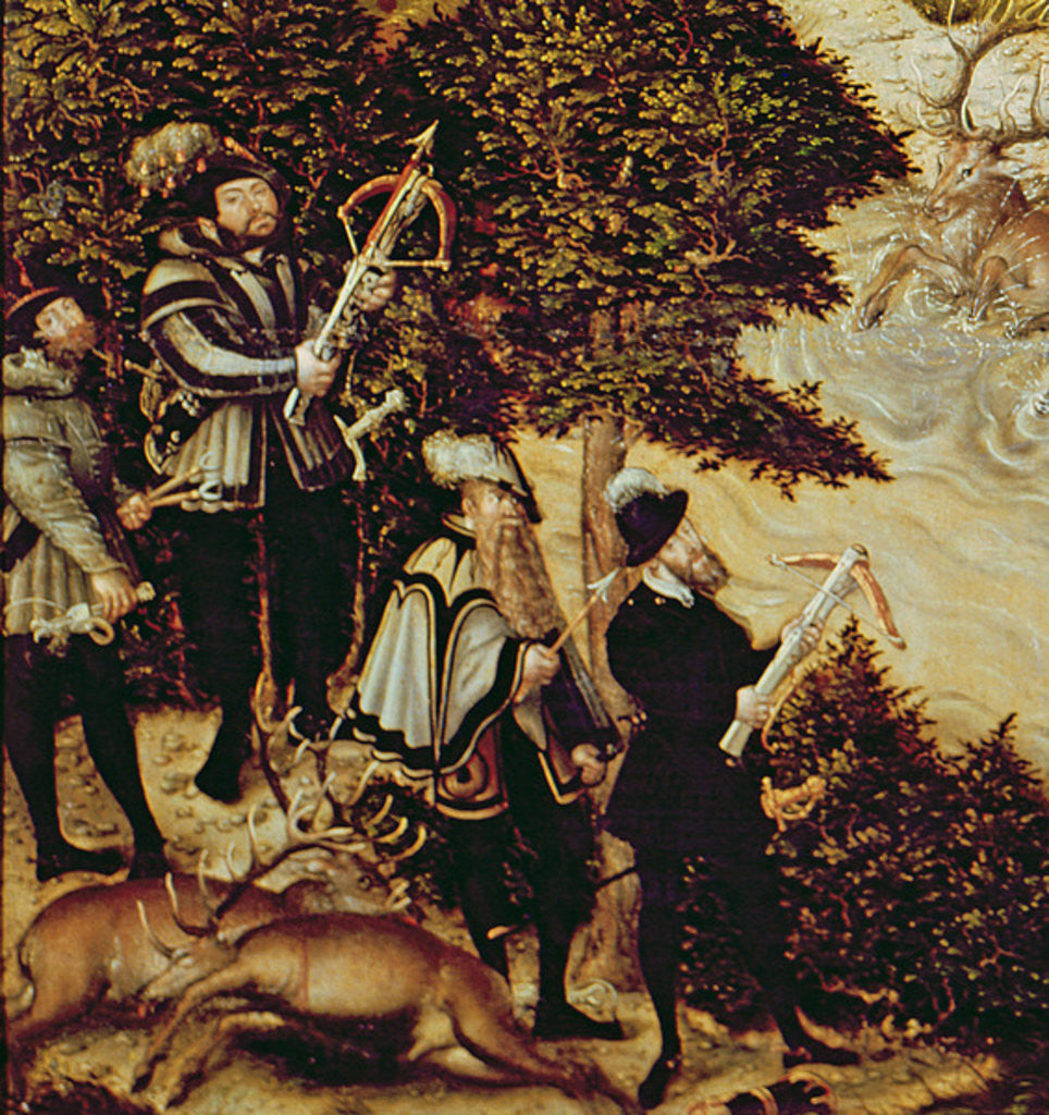 Detail of Johann Friedrich the Magnanimous, Elector of Saxony and Emperor Charles V hunting deer near Hartenfels Castle, Torgau by Lucas