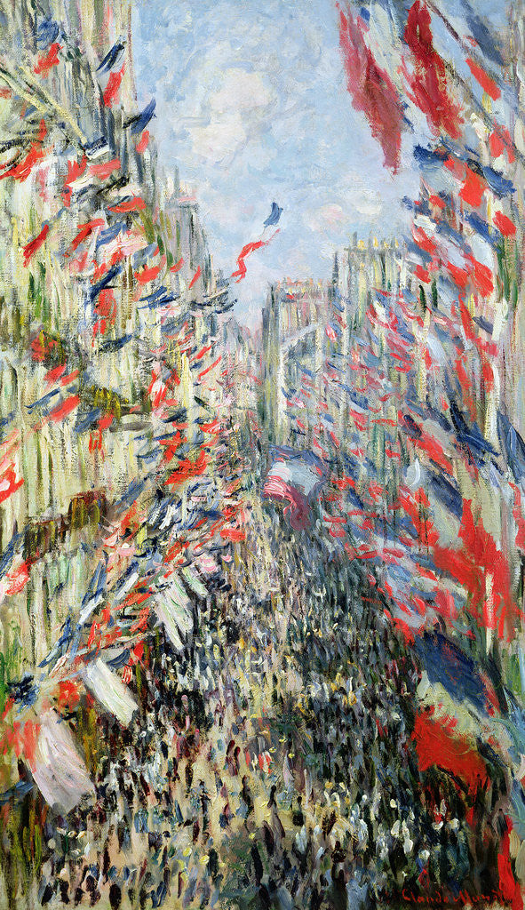 Detail of The Rue Montorgueil, Paris, Celebration of June 30 by Claude Monet