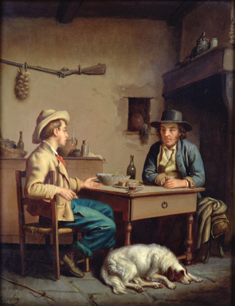 Detail of Interior of a Peasant's Cottage by Edouard Amable Onslow