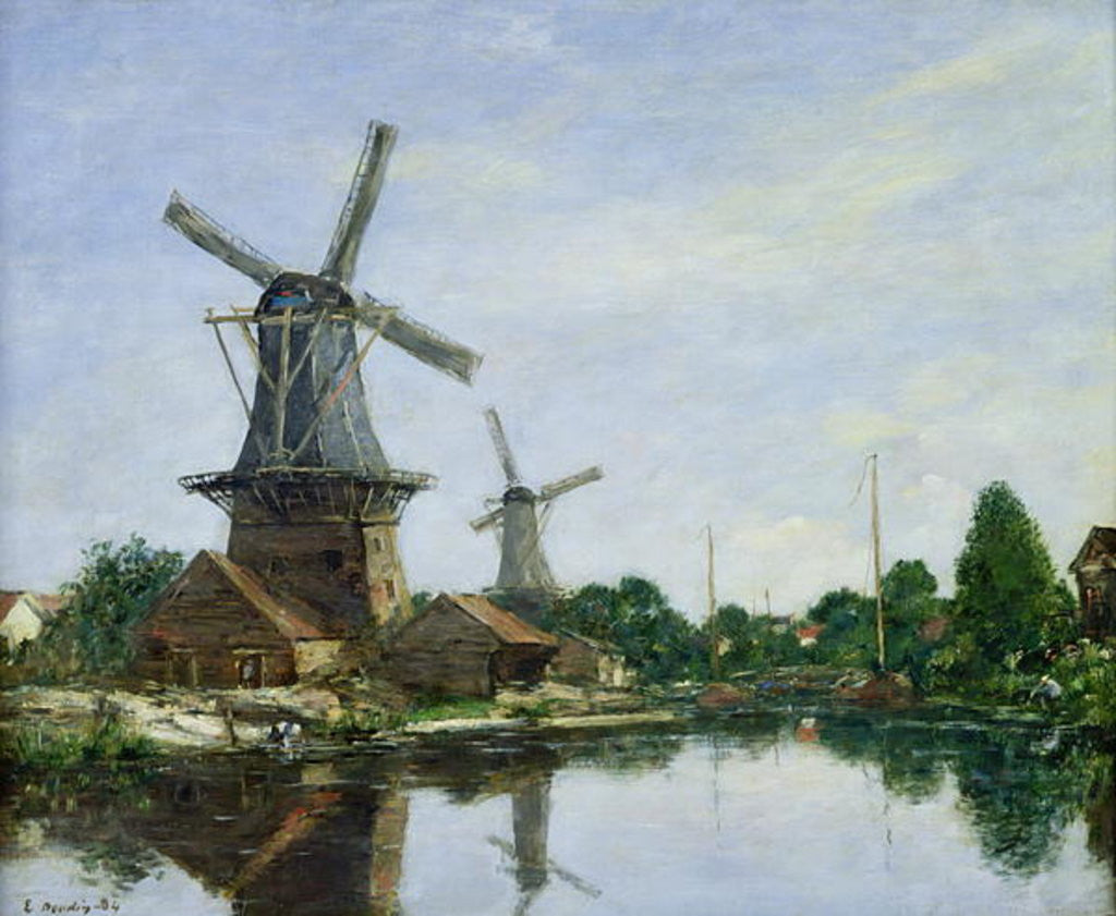 Detail of Dutch Windmills by Eugene Louis Boudin