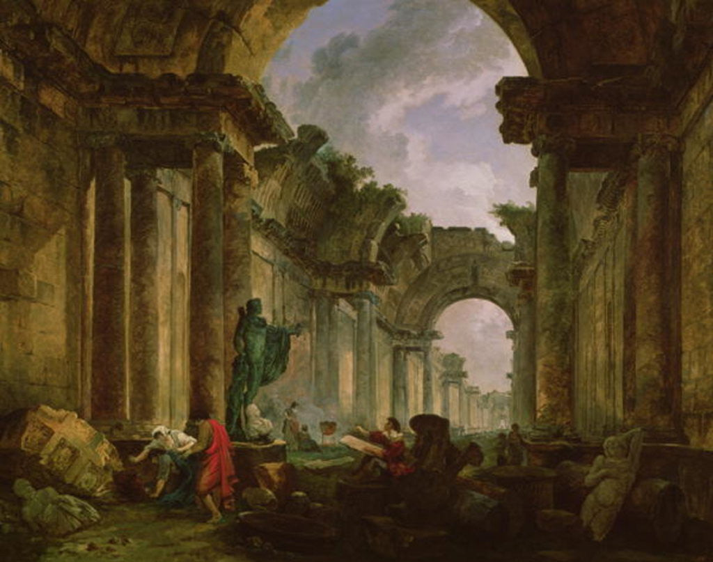 Detail of Imaginary View of the Grand Gallery of the Louvre in Ruins by Hubert Robert