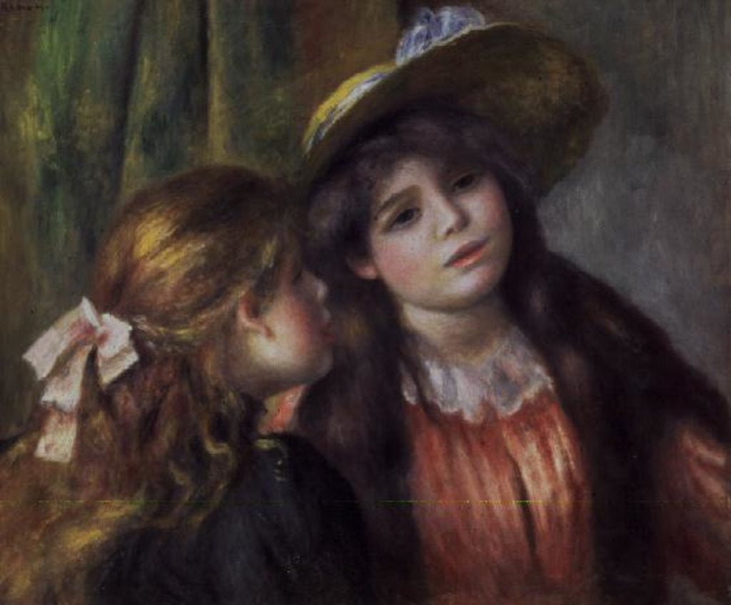 Detail of Portrait of Two Girls by Pierre Auguste Renoir