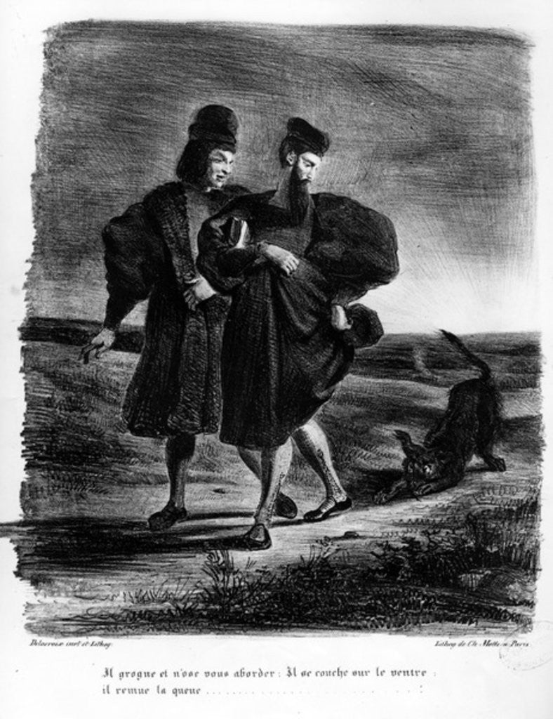 Detail of Faust and Wagner, Illustration for Faust by Goethe by Ferdinand Victor Eugene Delacroix