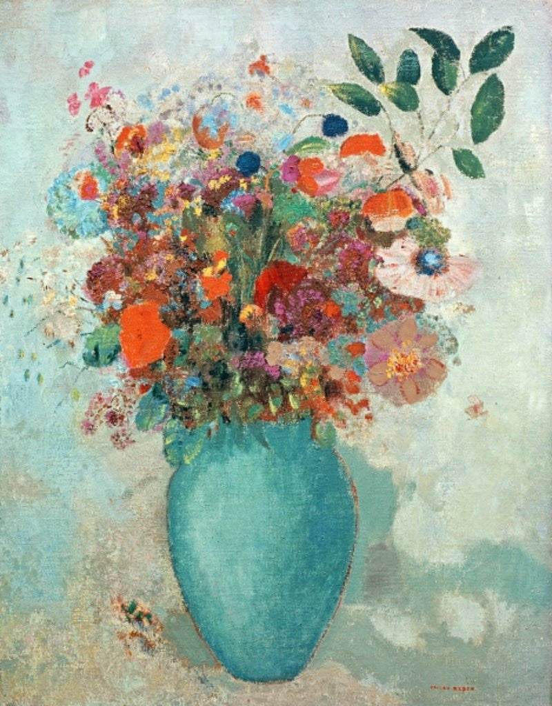 Detail of Flowers in a Turquoise Vase by Odilon Redon