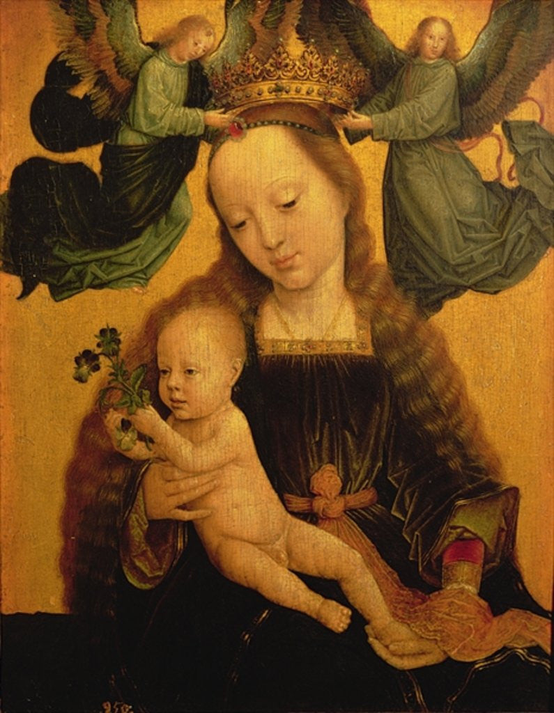 Detail of Madonna and Child Crowned by Two Angels by Gerard David