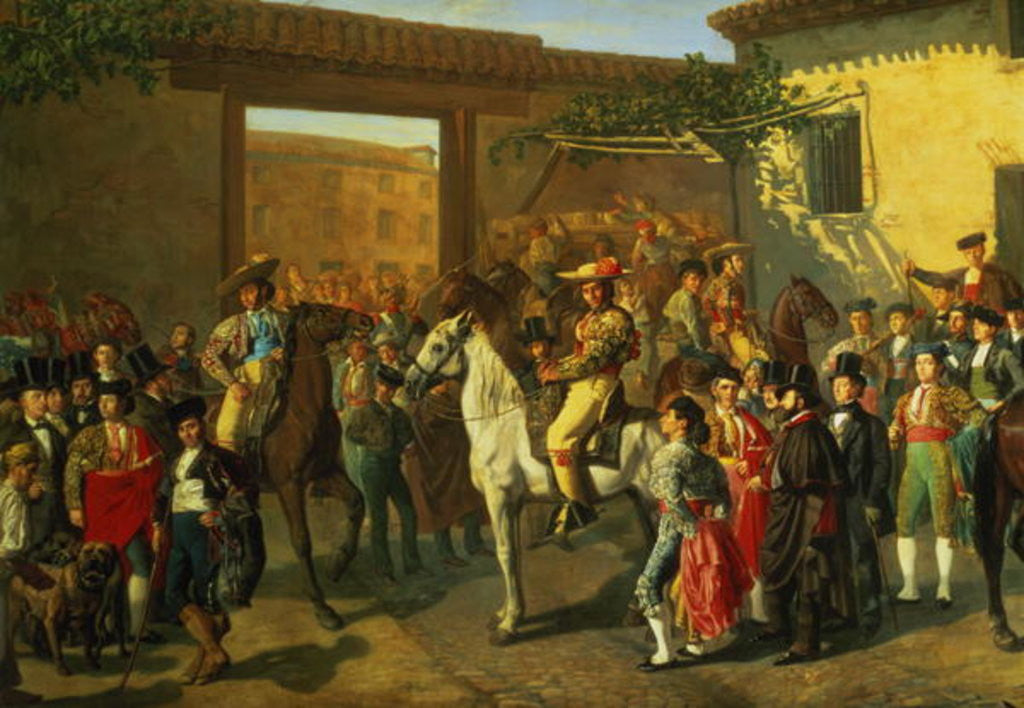 Detail of Horses in a Courtyard by the Bullring before the Bullfight, Madrid by Manuel Castellano