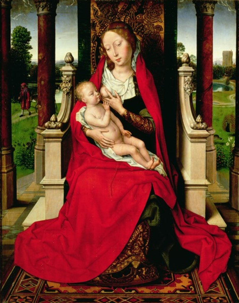 Detail of Madonna and Child Enthroned by Hans Memling