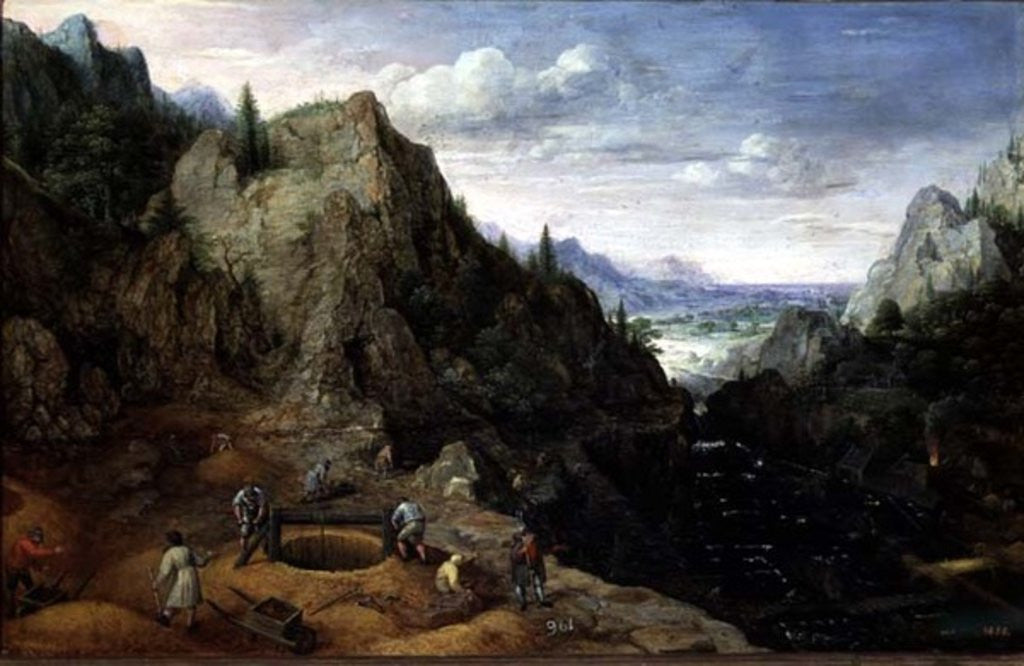 Detail of Landscape with a Foundry by Lucas van Valckenborch