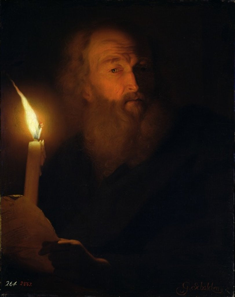 Detail of Man with a Candle by Godfried Schalken or Schalcken