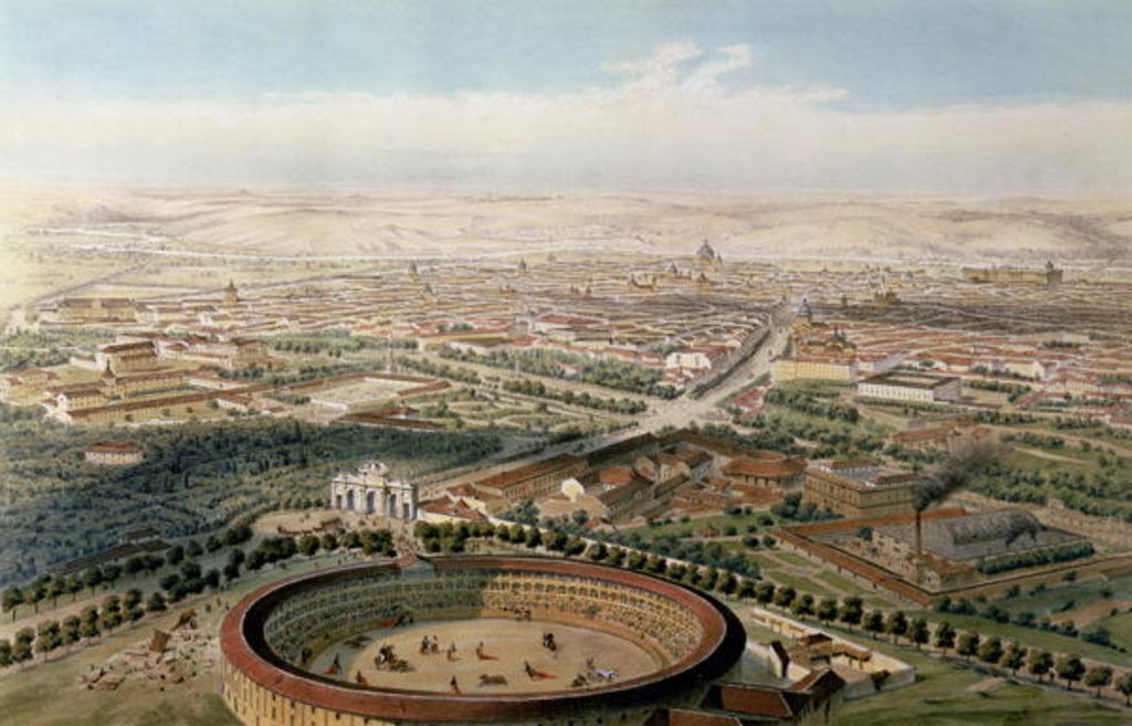 Detail of Aerial View of Madrid from the Plaza de Toros by Alfred Guesdon