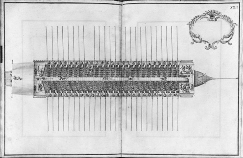 Detail of Building, equipping and launching of a galley, view from above of a galley by French School