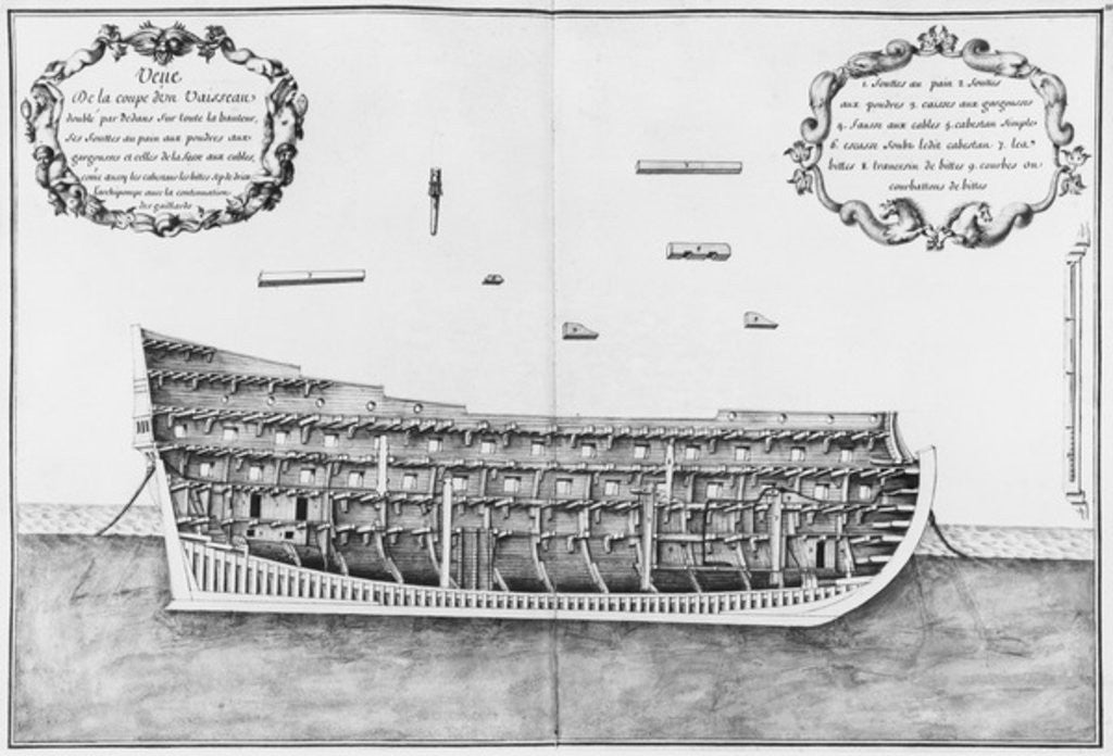 Detail of Cross-section of a vessel lined inside on its full height by plate 33