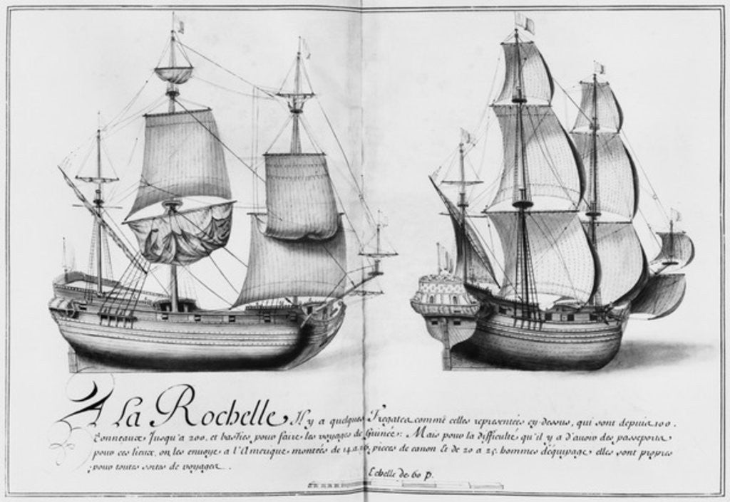 Detail of Frigates, La Rochelle by French School