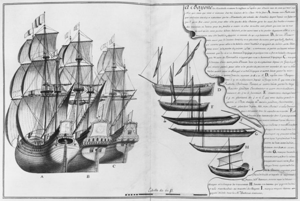 Detail of A Dutch store ship, boats known as pinasses and various small boats, Bayonne by French School