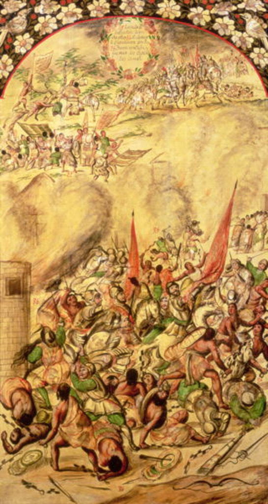Detail of Conquest of Mexico: the Spaniards retreating by Miguel and Juan Gonzalez