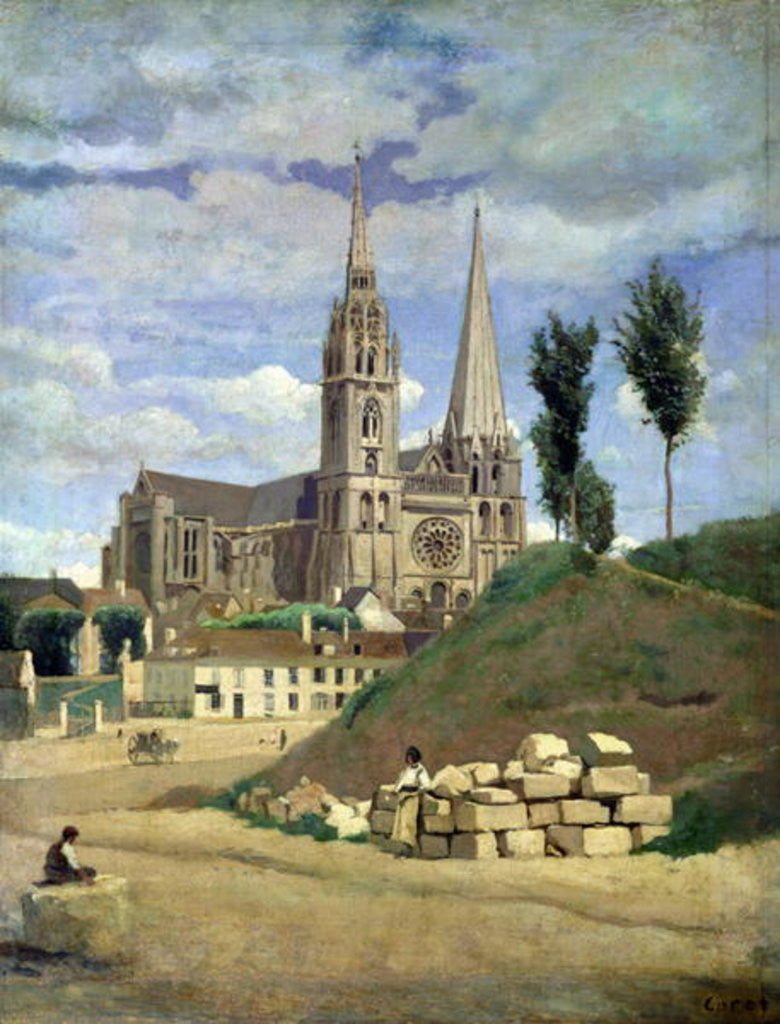 Detail of Chartres Cathedral by Jean Baptiste Camille Corot
