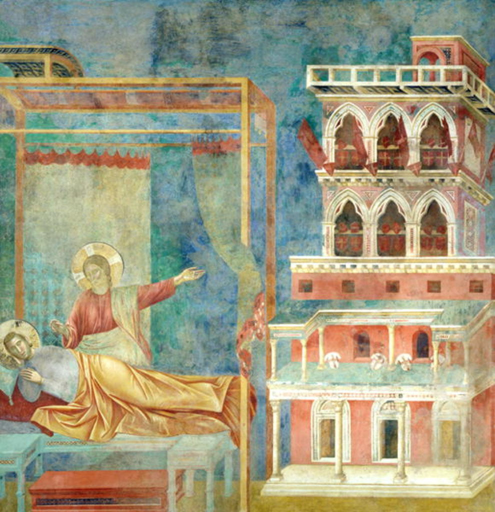 St. Francis Dreams of a Palace full of Weapons by Giotto di Bondone