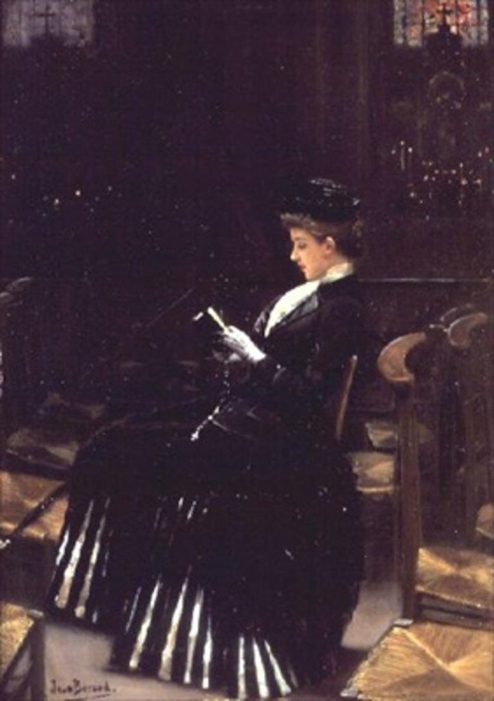 Detail of A Woman at Prayer by Jean Beraud