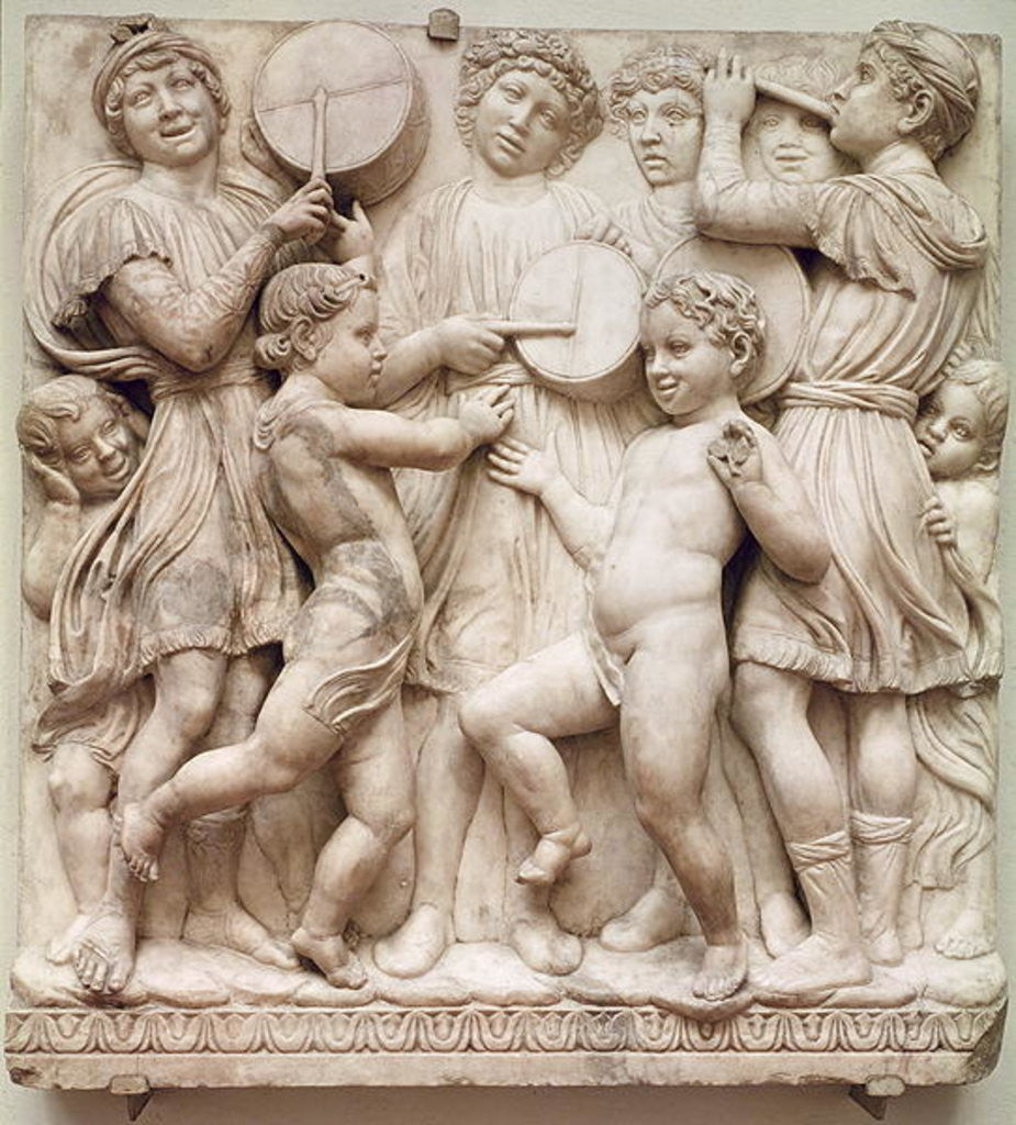 Detail of Musical angels, relief from the Cantoria by Luca Della Robbia