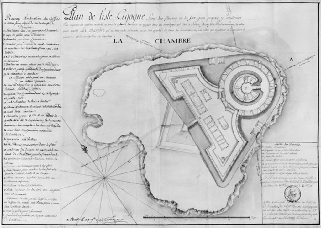 Detail of Plan of the Ile Cigogne and the project of a fort, Archipel des Glenan by French School