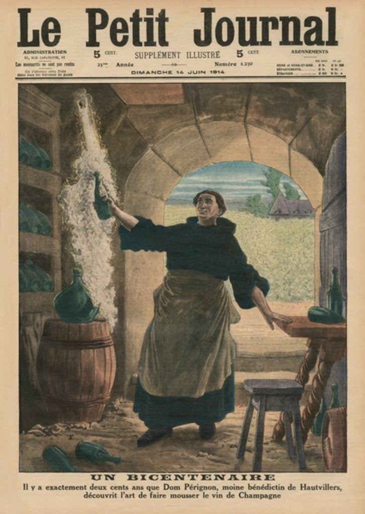A Bicentenary, two hundred years ago precisely, Dom Perignon, a Benedictine monk of Hautvillers, discovered the art of making the Champagne wine sparkle by French School