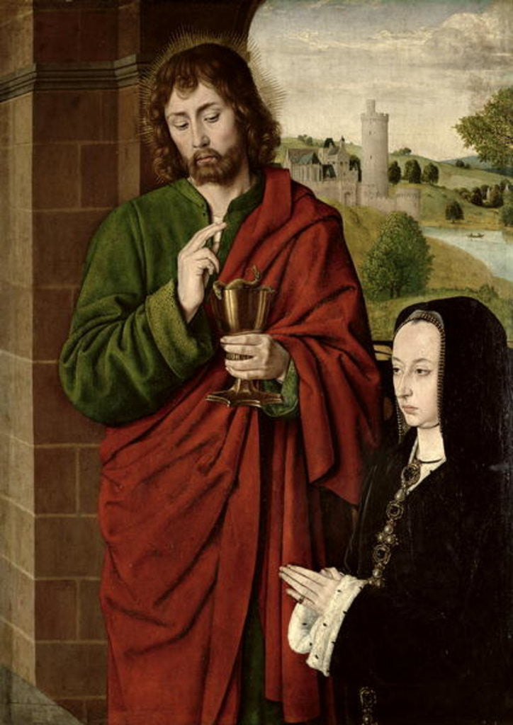 Detail of Anne of France Lady of Beaujeu, Duchess of Bourbon, presented by St. John the Evangelist by Master of Moulins