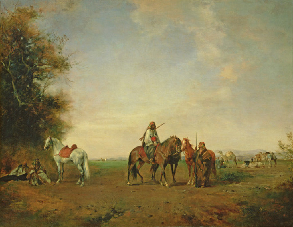 Detail of Resting place of the Arab horsemen on the plain by Eugene Fromentin