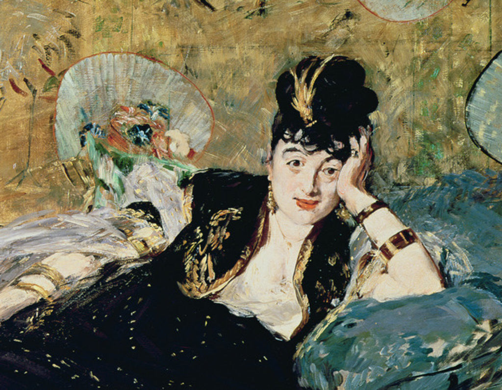 Detail of The Lady with Fans, Portrait of Nina de Callias by Edouard Manet