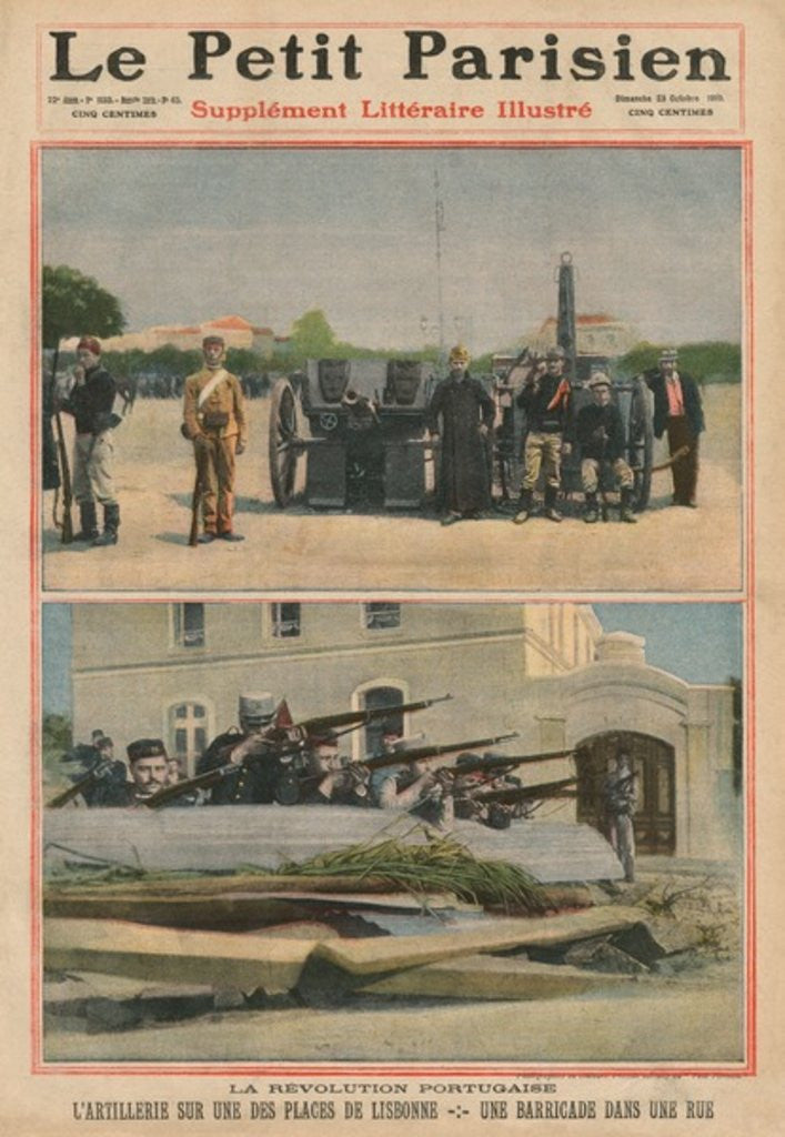 Detail of Portuguese Revolution, Artillery on a square of Lisbon, a barricade in a street by French School