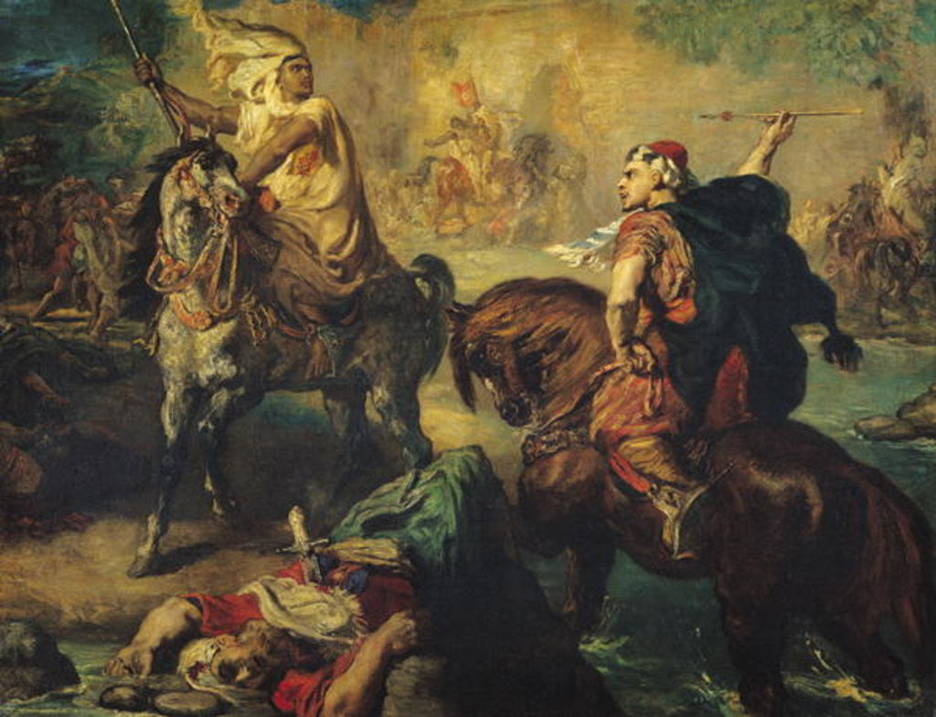 Detail of Arab Tribal Chiefs in Single Combat, under the Ramparts of a Town by Theodore Chasseriau