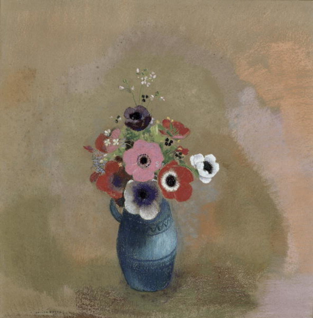 Detail of Bouquet of anemones by Odilon Redon