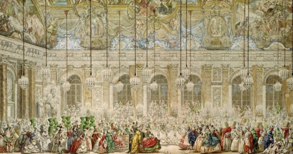 Detail of The Masked Ball at the Galerie des Glaces by Charles Nicolas II Cochin