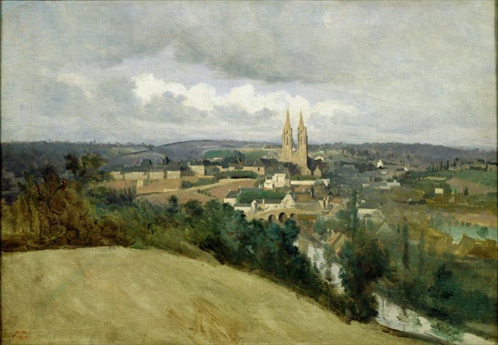 Detail of General View of the Town of Saint-Lo by Jean Baptiste Camille Corot