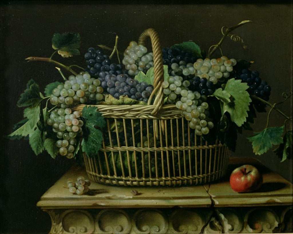Detail of A Basket of Grapes by Pierre Dupuis