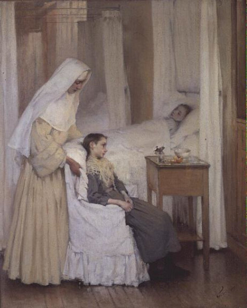 Detail of At Notre-Dame du Perpetuel Bon Secours Hospital by Henri Jules Jean Geoffroy