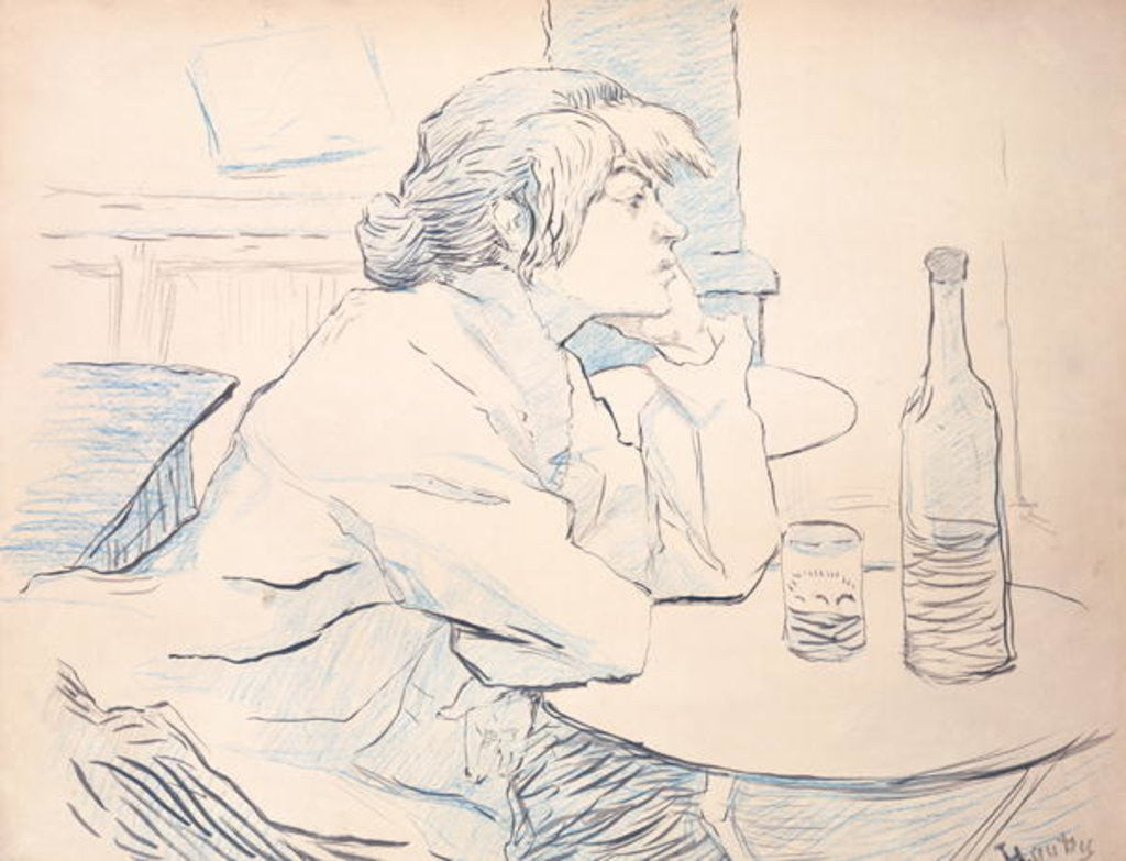 Detail of Woman Drinker, or The Hangover by Henri de Toulouse-Lautrec