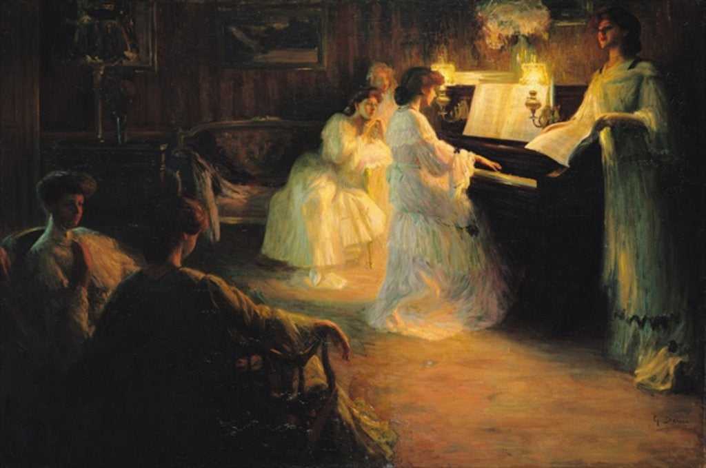 Detail of Young Girls at a Piano by Gabriel Deluc