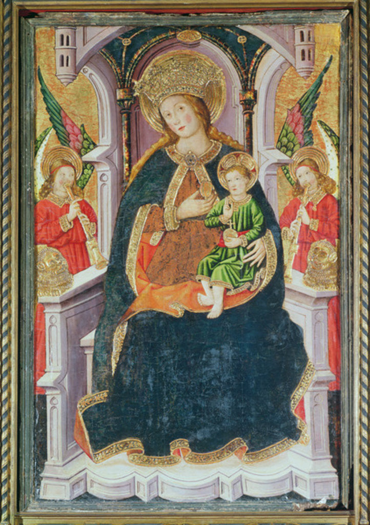 Detail of Virgin and Child with Angel Musicians by Master of Burgo de Osma