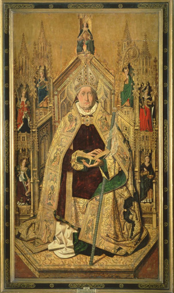 Detail of St. Dominic enthroned as Abbot of Silos by Bermejo