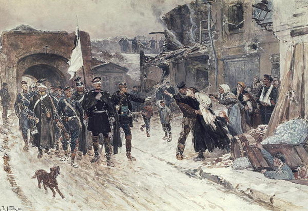 Detail of The Entrance into Belfort of the German Commander Bearing the Flag of Truce by Alphonse Marie de Neuville