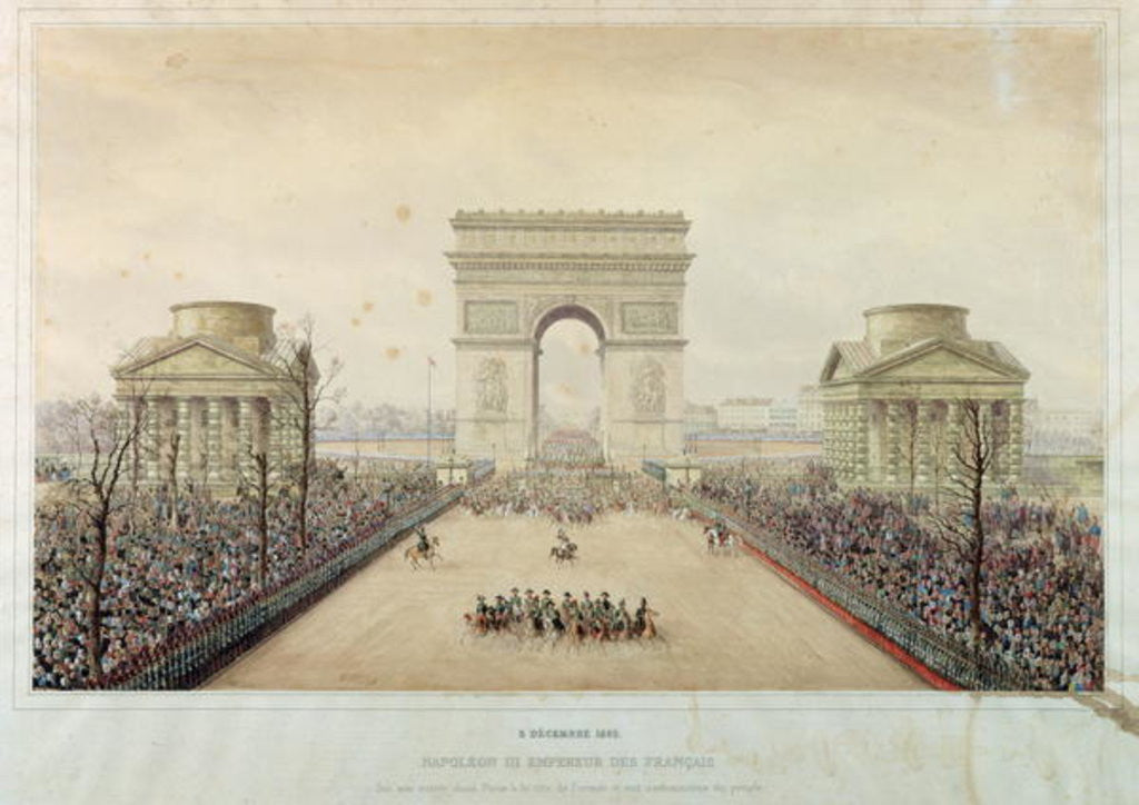 Detail of Entry of Napoleon III into Paris, through the Arc de Triomphe, on by Theodore Jung
