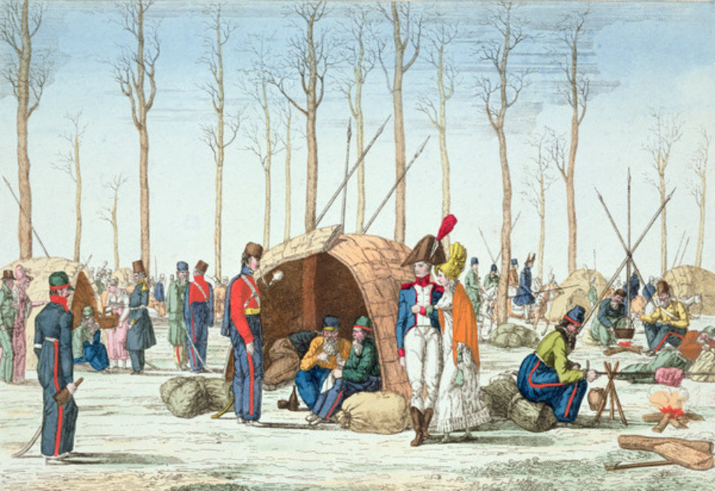 Detail of Bivouac of Russian troops on the Champs Elysées, Paris by French School