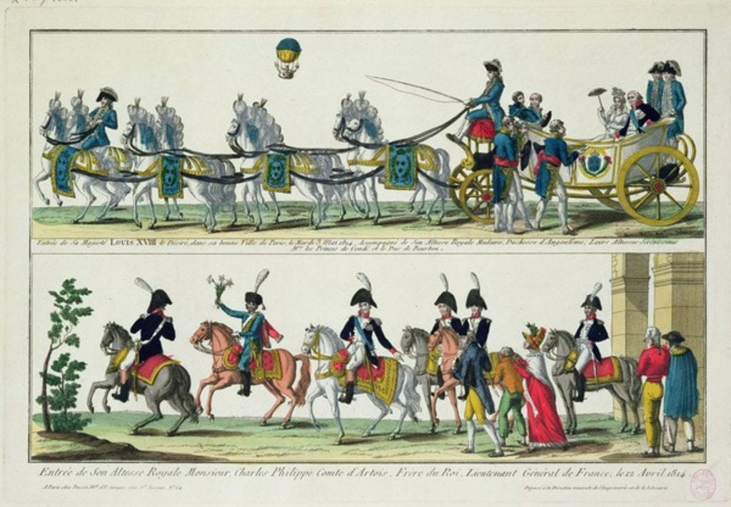 Detail of Entry to Paris of Charles, Count of Artois, 12 April 1814, and Entry to Paris of Louis XVIII, King of France and Navarre by French School