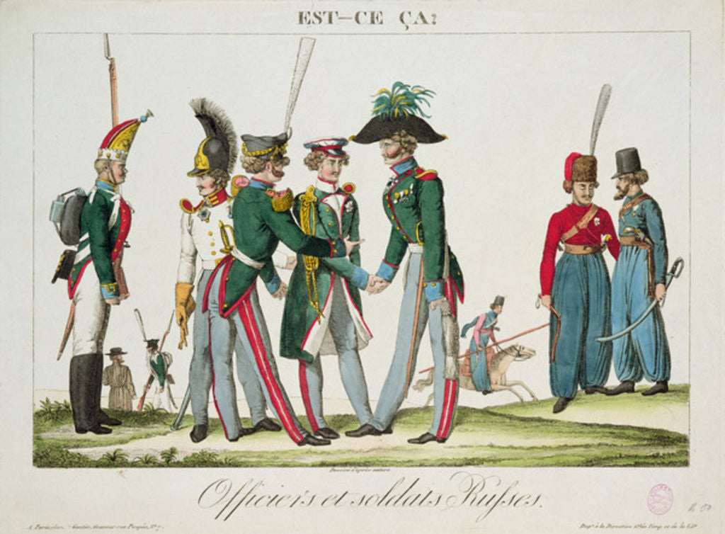 Detail of Russian officers and soldiers by French School