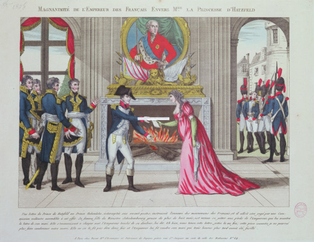 Detail of Magnanimity of Emperor Napoleon towards the Princess of Hatzfeld by French School
